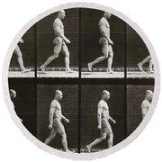 Man Walking, Plate 6 From Animal Locomotion, 1887  Round Beach Towel