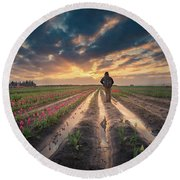 Round Beach Towel featuring the photograph Man Watching Sunrise In Tulip Field by William Lee