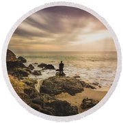 Man Watching Sunset In Malibu Round Beach Towel