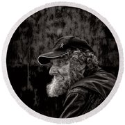 Man With A Beard Round Beach Towel by Bob Orsillo