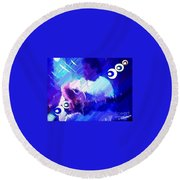 Man With A Guitar Round Beach Towel