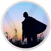 Man With Bag Round Beach Towel