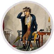 Man With Excruciating Headache, 1835 Round Beach Towel