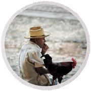 Man With Rooster - Trinidad - Cuba  Round Beach Towel