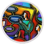 Round Beach Towel featuring the painting Manager  by Leon Zernitsky