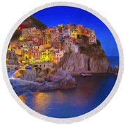 Manarola By Moonlight Round Beach Towel