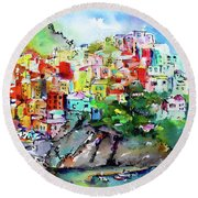 Manarola Cinque Terre Italy Colorful Watercolor Round Beach Towel