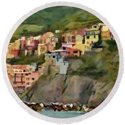 Round Beach Towel featuring the painting Manarola by Jeff Kolker