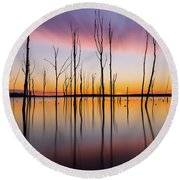 Manasquan Reservoir Long Exposure Round Beach Towel