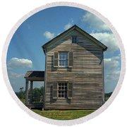 Round Beach Towel featuring the photograph Manassas Battlefield Farmhouse by Frank Romeo