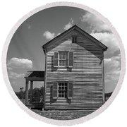 Round Beach Towel featuring the photograph Manassas Civil War Battlefield Farmhouse Bw by Frank Romeo