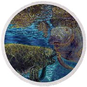 Manatee Motherhood Round Beach Towel