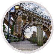 Manayunk - Towpath And Bridge Round Beach Towel by Bill Cannon