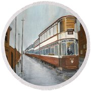 Manchester Piccadilly Tram Round Beach Towel