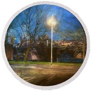 Manchester Street With Light And Trees Round Beach Towel