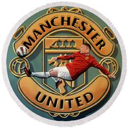 Manchester United Painting Round Beach Towel by Paul Meijering