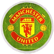 Manchester United Theater Of Dreams Large Canvas Art, Canvas Print, Large Art, Large Wall Decor Round Beach Towel by David Millenheft