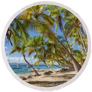 Round Beach Towel featuring the photograph Manchioneel Bay, Cooper Island by Adam Romanowicz