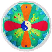 Round Beach Towel featuring the painting Mandala by Denise Fulmer