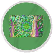 Mandala Forest Round Beach Towel
