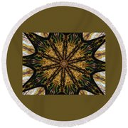 Mandala Of Autumn Trees. Round Beach Towel