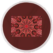 Mandala Of Autumn Woods Round Beach Towel