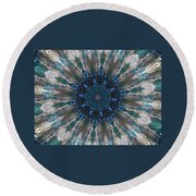 Mandala Of Blue Glass Round Beach Towel