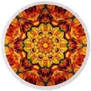 Mandala Of The Sun In A Dark Kingdom Round Beach Towel