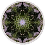 Round Beach Towel featuring the digital art Mandala Sea Sponge by Nancy Griswold