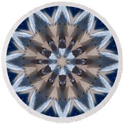 Mandala Sea Star Round Beach Towel by Nancy Griswold