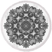 Round Beach Towel featuring the digital art Mandala To Color 2 by Mo T