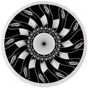 Round Beach Towel featuring the digital art Mandala White And Black by Linda Lees