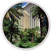 Round Beach Towel featuring the photograph Mandalay Bay Hotel by John Schneider