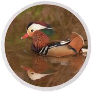 Mandarin Duck Reflection Round Beach Towel