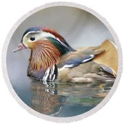 Mandarin Duck Swimming Round Beach Towel