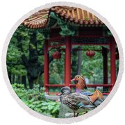 Mandarin Ducks At Pavilion Round Beach Towel