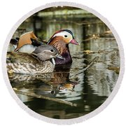 Mandarin Ducks The Couple Round Beach Towel by Torbjorn Swenelius