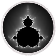 Mandelbrot Set Black And White Fractal Art Round Beach Towel