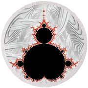 Mandelbrot Set Black Red Silver Round Beach Towel