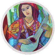 Round Beach Towel featuring the painting Mandolin-eight Strings by Denise Weaver Ross