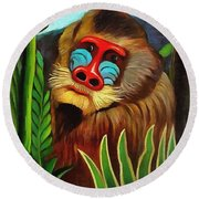 Mandrill In The Jungle Round Beach Towel