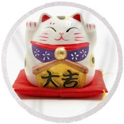 Maneki Neko Round Beach Towel