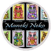 Maneki Neko Luck Cats Round Beach Towel