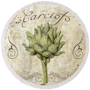 Mangia Carciofo Artichoke Round Beach Towel by Mindy Sommers