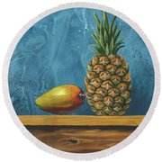 Round Beach Towel featuring the painting Mango And Pineapple by Darice Machel McGuire