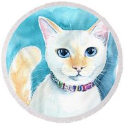 Mango - Flame Point Siamese Cat Painting Round Beach Towel