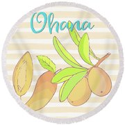 Mango Ohana Tropical Hawaiian Design Of Fruit And Family Round Beach Towel by Tina Lavoie