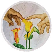 Man, God...and Calla Lilies Round Beach Towel by Rand Swift