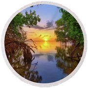 Round Beach Towel featuring the photograph Mangrove Sunset From Jensen Beach Florida by Justin Kelefas