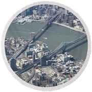 Manhattan And Brooklyn Bridge Round Beach Towel